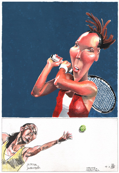 Zlatni osmeh Golden smile 2012 Tennis  FECO Serbia cartoon art 3. third prize Mohamad Tabrizi IRAN